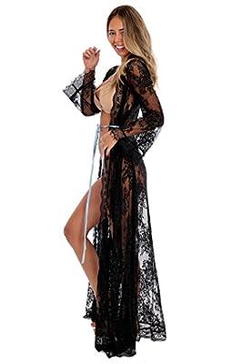 A Aporei Lace Kimono - Beach Dress - Sheer Long Robe - Swim Coverup - Lingerie Gift
