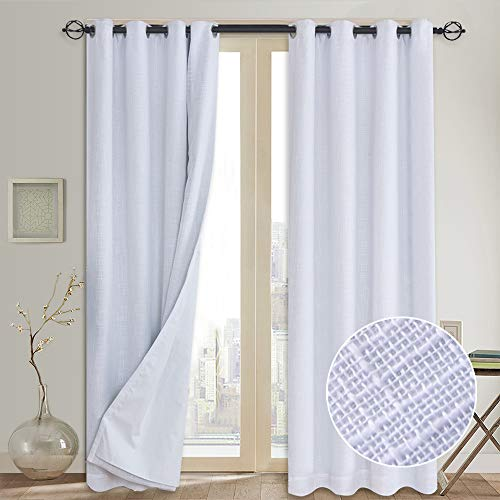 100% Blackout Curtains (with Liner), White Linen Blackout Curtains & Blackout Thermal Insulated Liner, Grommet Curtains for Living Room/Bedroom,Burlap Curtains - 2 Panels, 50x84