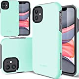 """TEAM LUXURY iPhone 11 Case, [Clarity Series] Shockproof, Rugged Anti-Drop Hybrid Protective Phone Cases Cover Compatible with Apple iPhone 11 6.1"""" for Women & Men (Soft Mint/Gray)"""