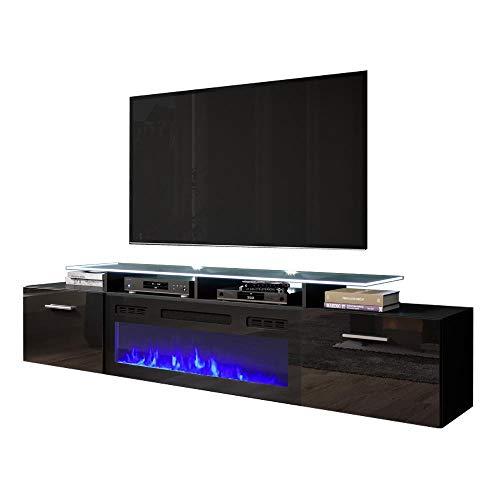 "Rova EF Electric Fireplace Modern 75"" TV Stand - Black"