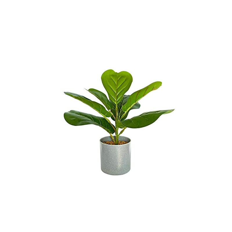 """silk flower arrangements besamenature artificial fiddle leaf fig tree/faux ficus lyrata for home office decoration, 12"""" tall, ships in gray planter"""