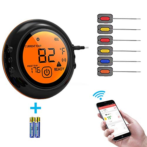 Smart Wireless Meat Thermometer for Grilling, Digital Display Thermometer for Cooking Food, Meat Thermometer for Smokers,Kitchen Grilling,Oven and Outdoor BBQ (black)