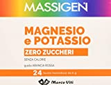 Massigen Magnesio e Potassio Zero Zuccheri Integratore Alimentare - Pacco da 24 x 6 g