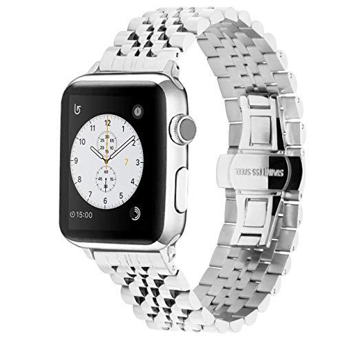 Juntan Armband Compatible for Apple Watch 38mm 40mm for iWatch Series 6 SE Series 5 4 3 2 1 Flexibles Sportuhrenarmband Ersatz Uhrarmband Silber