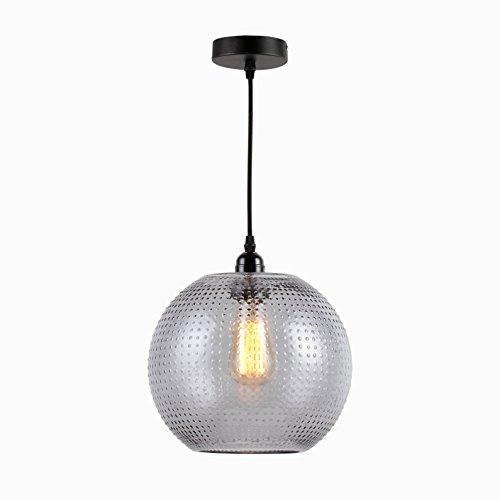 KADIMA DESIGN Lampe en Verre 1x Rita Lampe en Verre Gris, Porte-Lampe INCL.