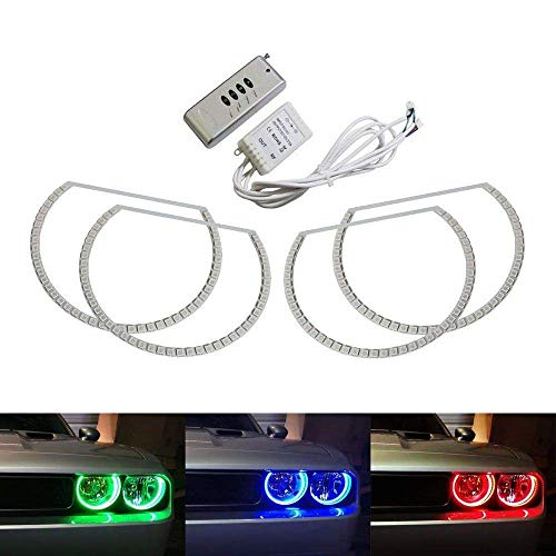 iJDMTOY 180-LED RGB Multi-Color LED Angel Eyes Halo Rings Compatible With 2008-2014 Dodge Challenger w/Wireless Remote Control
