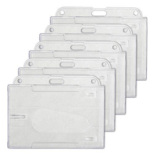 GOGO 5 Piezas Porta Tarjetas de Identificación, Porta Acreditación de Plástico Transparente a prueba de agua, Fundas Tarjetas identificativas de plástico duro- Horizontal