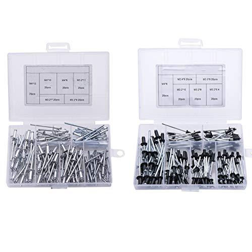 KAPAYONO 240Pcs / Set Schwarz Aluminium Blindnieten Nageldekoration Nieten für M?Bel Sortiment Kit