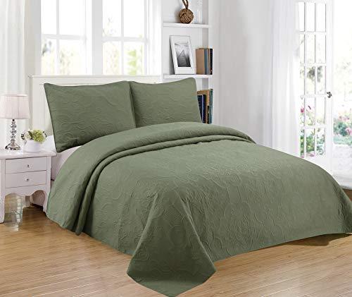 Sapphire Home Übergroßes Tagesdecken-Set mit 1 Kissenbezug, weich, einfarbig, leicht, stilvoll, geprägtes Muster, Übergröße Oversize King/Cal-King olivgrün