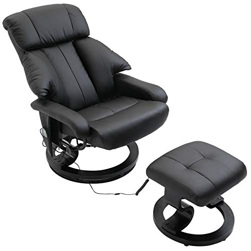 HOMCOM Recliner Sofa Electric Massage Chair Sofa 10 Massager Heat with Foot Stool - Black