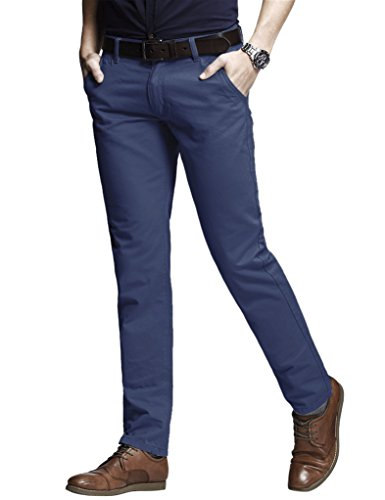 Match Men's Fit Tapered Stretchy Casual Pants (34W x 31L, 8103 Vivid Blue)