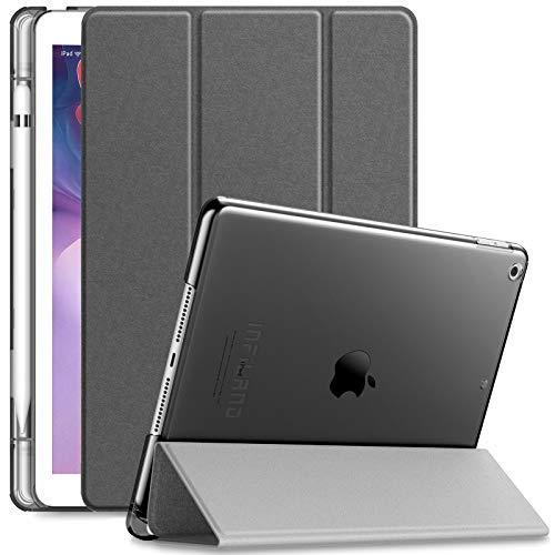INFILAND Hülle für iPad 10.2 2019 mit Pencil Halter,Superleicht Transluzent Smart Schutzhülle Case mkompatibel mit Auto Schlaf/Wach Funktion für iPad 10.2 Inch 2019 (7. Generation),Grau