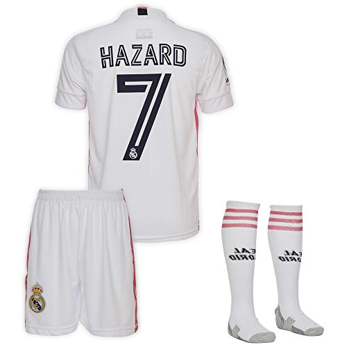 Real Madrid #7 Eden Hazard Trikot Set 2020-2021 Heim Kinder Fußball Trikot mit Shorts und Socken Kindergrößen