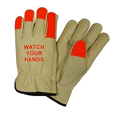 West Chester 990KOTT Watch Your Hands Lined Grain Cowhide Driver Glove, Hi-Viz (Pack of 12)