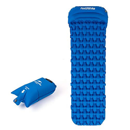 Naturehike TPU aufblasbare Matte Camping Bettwäsche Schlafkissen Outdoor Wandern Einzelzelt Luftmatratze mit Kissen Ultraleicht Feuchtigkeitsbeständige Kissen Airbag NH19Z012-P (Matte mit Airbag-Blau)