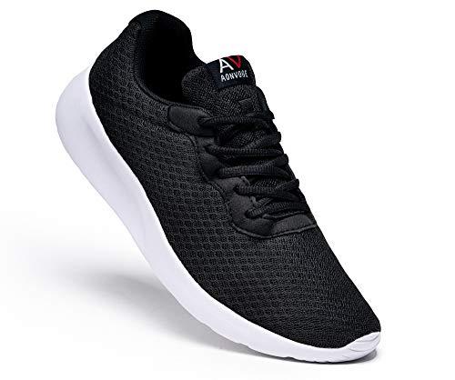 AONEG Laufschuhe Schuhe Herren Sportschuhe Straßenlaufschuhe Sneaker Tennis Turnschuhe Walkingschuhe Joggingschuhe Herrenschuhe Trainer Schuhe Schwarz-Weiß 45
