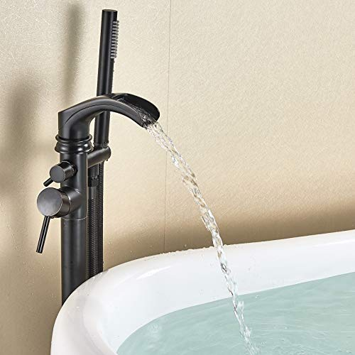 Votamuta Modern ORB Dual Function Freestanding Floor Mounting Bathtub Faucet Oil Rubbed Bronze Waterfall Tub Faucet Filler With ABS Handle Hand Shower Head