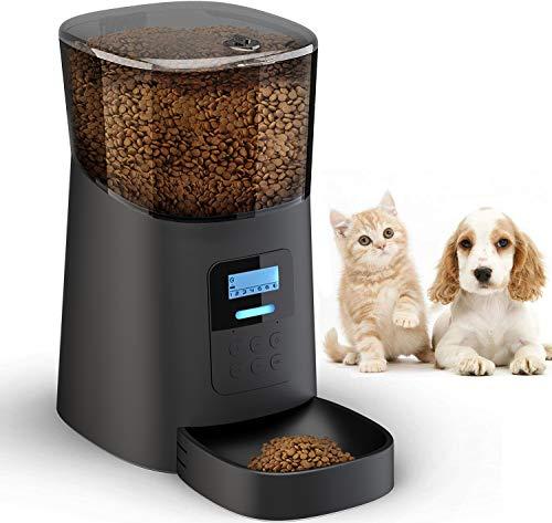 Arespark Mangeoire automatique, mangeoire automatique 6L Pour chiens et Chats, 6 repas/Jour, fonction minuterie et enregistrement sonore, Conception Anti-Blocage, mangeoire Pour animaux à écran LCD
