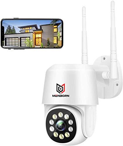 Telecamera wifi esterno con Visione Notturna a Colori, Menborn 1080p PTZ Zoom Digitale IP Videocamera di Sorveglianza con Pan 355° e Tilt 90°, Auto Tracking, Rilevazione Umana, Audio Bidirezionale