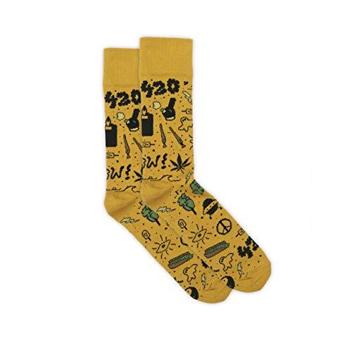 RollaJohn RollaSocks Lustige Coole Socken für Frauen, Männer und Kinder, Ultimativer Komfort und Weichheit. Gemacht für Marihuana-Liebhaber. (420 Yellow, 43-46)