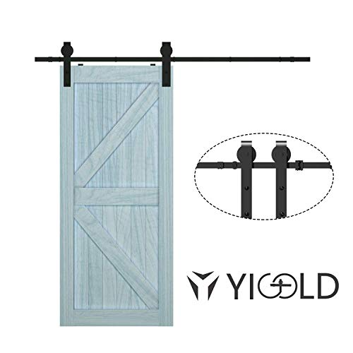 "6.6ft Sliding Barn Door Hardware Kit,Hardware for Barn Door,Antique Style,Sliding Smoothly Quietly,Factory Outlet Upgraded Version Quality Carbon Steel,Fit 36""-40"" Wide Door Panel-(J Shape Hanger)"