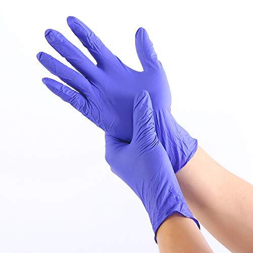 Wanzheronya Sicherheitshandschuhe Lebensmittel Medizinische Tests Haushaltsreinigungshandschuhe Antistatische Handschuhe 100 STÜCKE/Verschleißfeste Nitril-Einweghandschuhe (Color : Blue, Size : XL)
