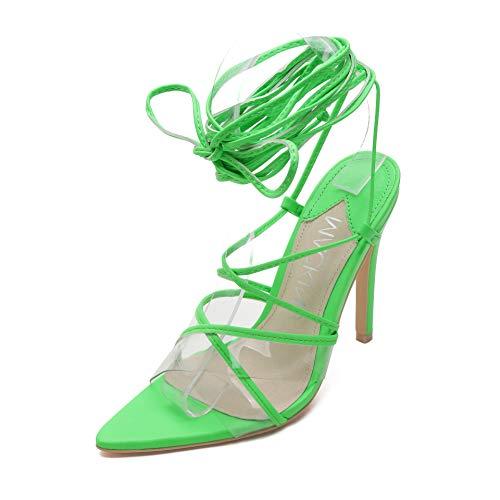 MACKIN J 294-27 Women's High Heel Sandals Stiletto Strappy Dress Sandals Lace Up Gladiator Sandals Green 9