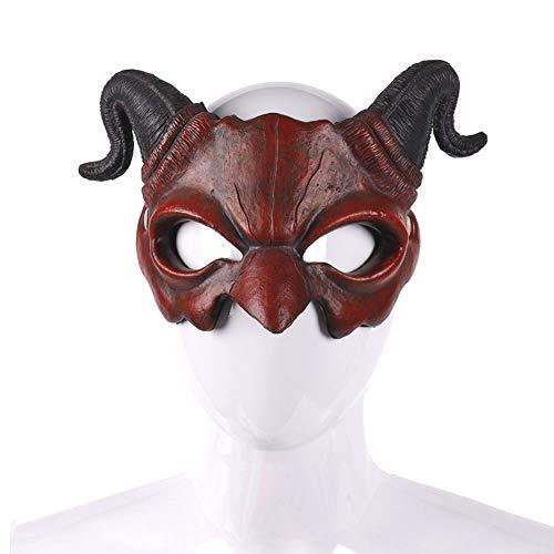 CYYMY Horn Teufel Maske Halloween Erwachsener Unisex Horror Maske Fasching Karneval Party Kostüm Cosplay Dekoration,Rot