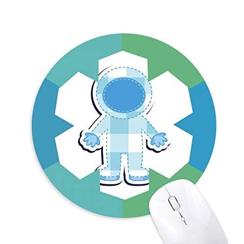 Universum und Alien Astronaut Round Rubber Blue Snowflake Maus Pad