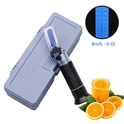 XFY Professionelles Tragbares Refraktometer, Handrefraktometer, Brix-Refraktometer, Reichweite: Brix 0-32% mit ATC, zu Hause, Obst, Saft Zuckergehalt Meter