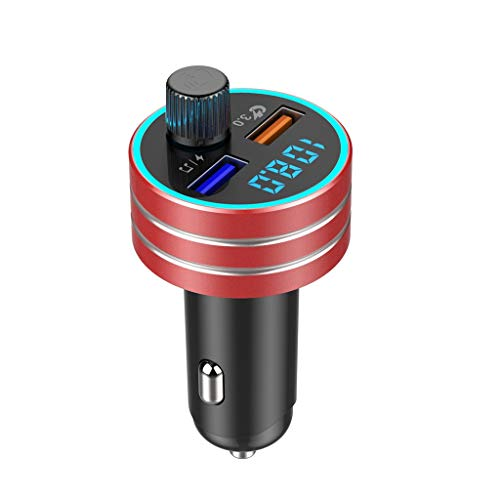 BEESCLOVER Car Blue-tooth 5.0 Player Multicolor QC3.0 Dual USB Charging MP3 Player FM Transmitter Red Creative Lifestyle