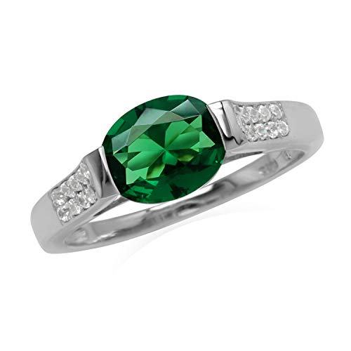 Silvershake 1.45 Ct Oval 9x7 mm Nano Emerald and White Cubic Zirconia 925 Sterling Silver Ring Size 7