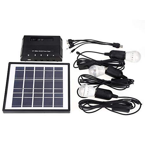 Riuty Sistema de iluminación Solar súper Brillante para el Sistema de iluminación Solar del Panel Solar de 4W al Aire Libre con 3 Bombillas LED para Acampar al Aire Libre o Emergencia Usado