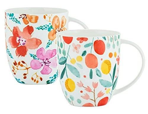 Set of 6 Jumbo Mugs Bone China Fruit & Floral Design Coffee Mug Assorted 450ml