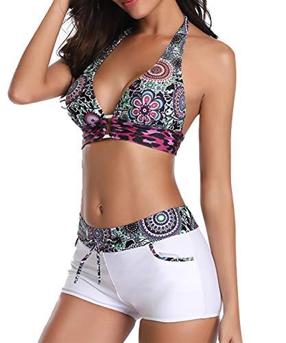 Durio Bikini Damen Set Bikini Verstellbar Zweiteiliger Badeanzug Push Up Bikini mit Hotpants Weiß mit Blumen 42-44