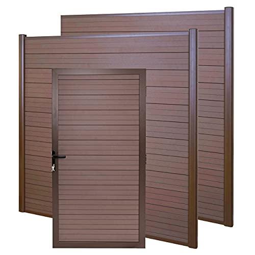 Mendler WPC-Sichtschutz mit Türe Sarthe, Windschutz Zaunelement Tor, 3er Set Alu-Pfosten - braun