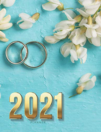 2021 Planner: Gold Engagement Rings - Teal Floral Wedding Theme / Daily...