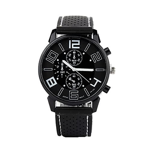 Reloj de pulsera para hombre, digital, de cuarzo, analógico, de silicona, resistente al agua, de acero inoxidable, redondo, deportivo, color blanco