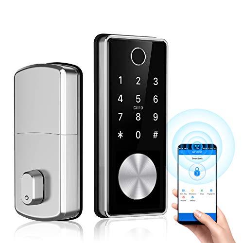 Tiffane Keyless Entry Door Lock Deadbolt, Biometric Fingerprint Door Lock, Smart Door Lock for Front Door, Smart Home Keypad Deadbolt Lock, Digital Door Lock Security for Home(Silver)