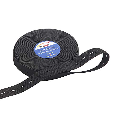 HANFINEE 3/4 Inch Wide Black Knit Buttonhole Elastic Spool Sewing Elastic Band for Crafts DIY,Clothes,Waistband- 15 Yards