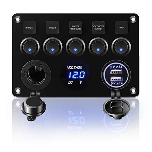 KAOLALI Panel de Interruptores Basculantes 12V/24V Panel de Interruptor 5 Interruptores 4,2A Cargador Doble Puerto LED Enchufe de Encendedor de Cigarrillos IP65 Impermeable