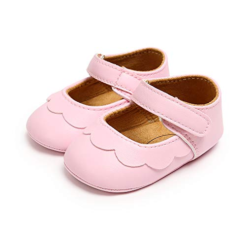 Zapatos Bebe Niña Recién Nacido Primeros Pasos Zapatos Bebé Princesa Suela Blanda Antideslizante Rosa 6-12 Meses