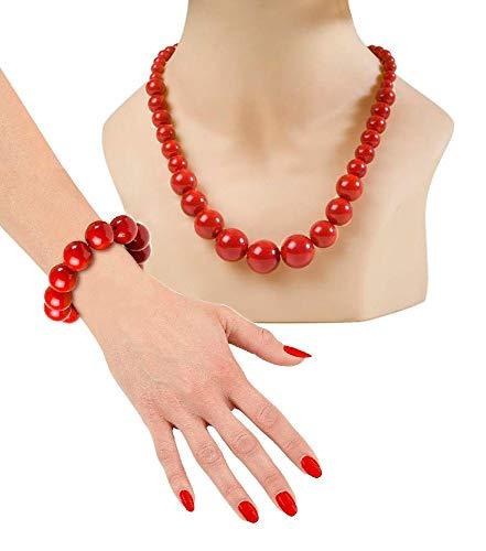 shoperama 70er Jahre Damen Schmuck Set Kugeln Perlen-Kette Armband Rot 50er Fünfziger Siebziger 80er Achtziger Disco