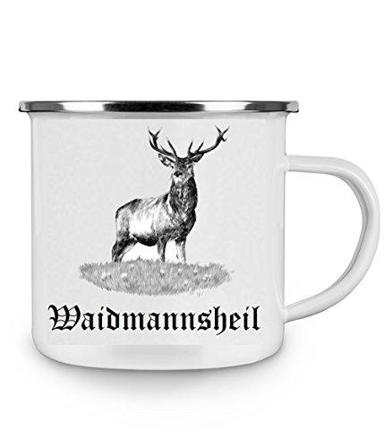 Crealuxe Emaille Tasse mit Rand Waidmannsheil - Kaffeetasse mit Motiv, Campingtasse Bedruckte Email-Tasse mit Sprüchen oder Bildern