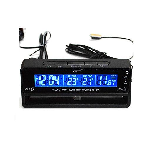 B Baosity Monitor de Alarma Reloj Voltímetro Termómetro Digital Coche Multifuncional 12 V Detector de Medidor Batería LCD (de -122 a 158 Grados F)