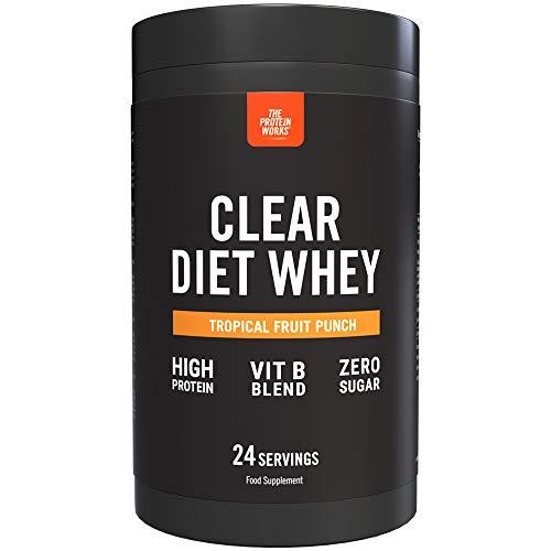 Clear Diet Whey Isolate Protein | Bebida Refrescante | Cero Azúcar & Cero Grasas | Vitaminas Energizantes | Ponche de Frutas Tropical | THE PROTEIN WORKS | 24 Servicios