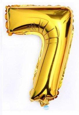 whitishPARTY getal 7 zeven – 40 cm / 16 inch goud – folieballon voor lucht of helium, voor bruiloft, verjaardag, feesten en jubileum