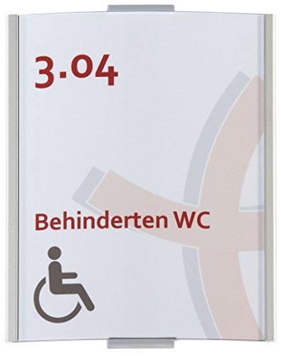 Frankfurt Türschild DIN A6 | 148x120mm | Aluminium silber | entspiegelte Abdeckung | einfache Montage Kleben oder Schrauben | Büroschild | Türschild Büro