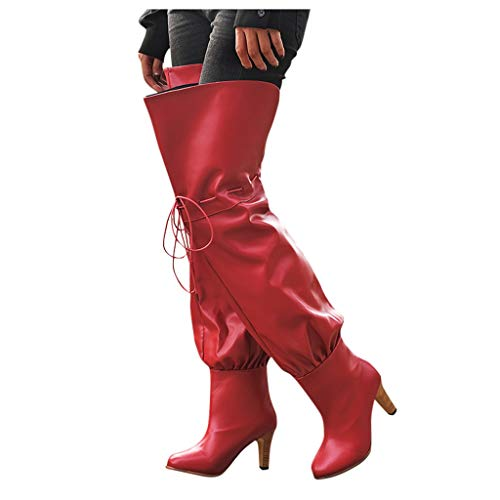 Fainosmny Women's Warm Over-The-Knee Boots Strap Spike Heels Boots Shoes Ladies Boots Winter Plus Size Booties Knight Boots Red