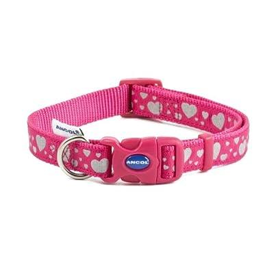 Ancol Pet Products Dog & Puppy Collars Indulgence Fashion Range (Pink Hearts, Large 45-70cm)